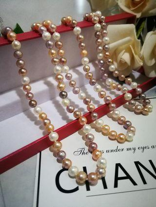🚚 7-8mmCandy's color fresh water Pearl Necklace