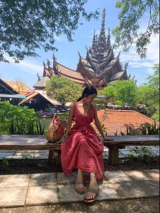 渡假粉色長洋裝
