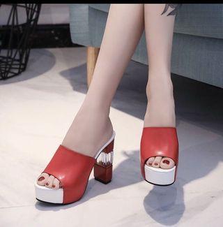 Women's High heeled waterproof platform fish mouth shoes