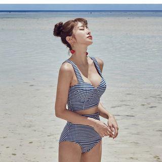 格子復古鋼圈泳衣