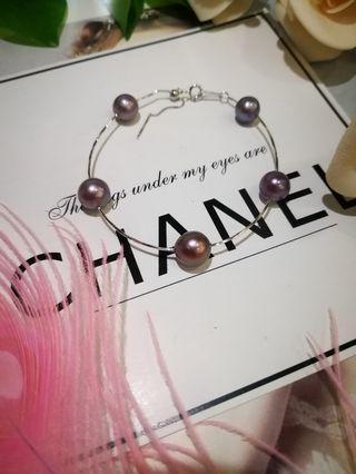🚚 S925silver 5stars purple pearls Bracelet