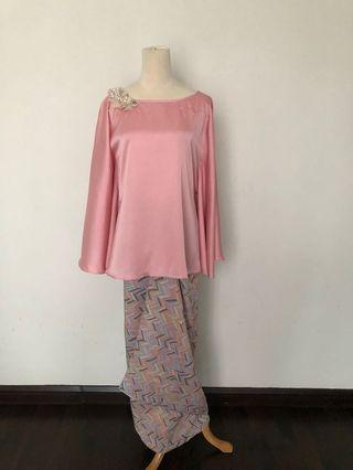 Kaftan top in pink with matching pareo