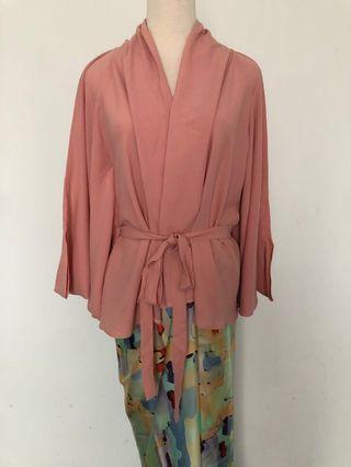 Kebaya wrap top in pink with matching satin pareo