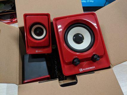 Audiobox red speakers
