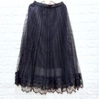 (006)夏女裝鬆緊腰寬版點點蕾絲紗裙(有內里)XL