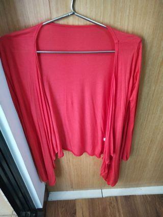 中長版罩衫 ,紅