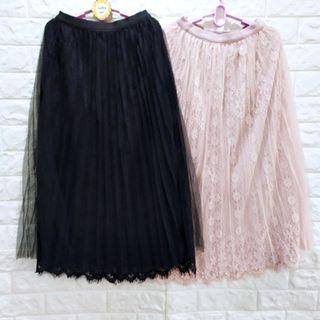 (1906)夏女裝鬆緊腰寬版花朵蕾絲紗裙(有內里)XL