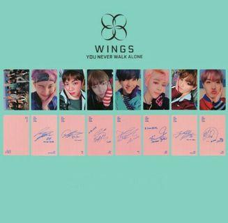 BTS Wings You Never Walk Alone Paper Photo Cards Autograph Photocard