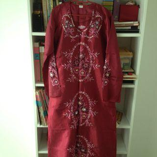 Beads abaya jubah with flower embroidery dress