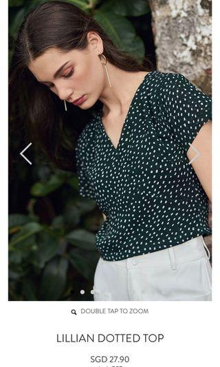 🚚 The Closet Lover TCL Forest Green Dotted Top