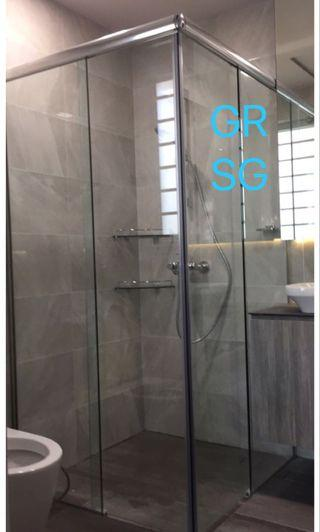 Corner Entry Sliding shower screen in 10mm clear tempered glass