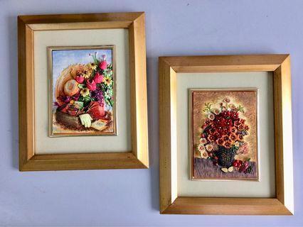 Pair of Flowers & Fruit Artwork Golden Wooden Framed