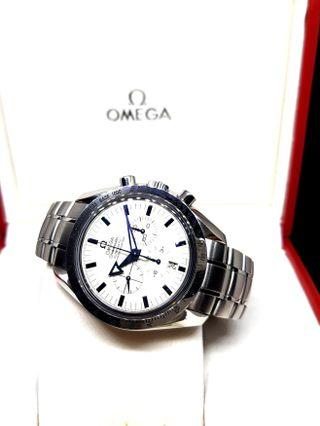 Omega White Speedmaster Broad Arrow Timepiece
