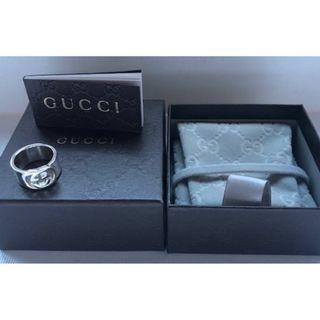 New Genuine GUCCI Wide Band Interlocking G Ring in Sterling (Discontinued)