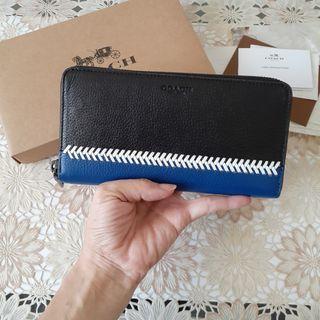 Dompet unisex pria wanita original leather kulit asli Coach whipstitch biru hitam