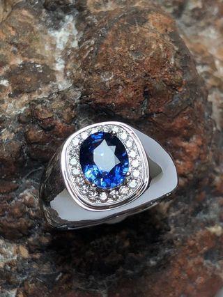 Natural Sapphire Diamonds Men's Ring w 18K White Gold
