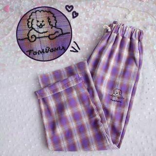 🚚 B22小狗刺繡紫色格紋褲 長褲 格子褲