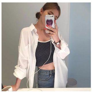 B14雪紡襯衫 長袖襯衫 白襯衫 防曬外套 罩衫