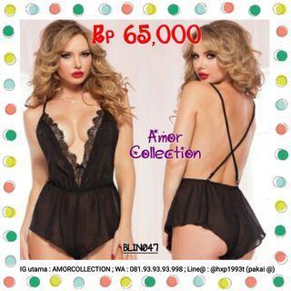Lingerie seksi jumpsuit hitam (BLIN047) By AMORCOLLECTION