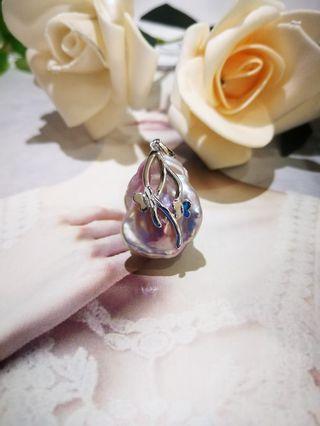 🚚 S925 silver Phalaenopsis Baroque Pearl Pendant