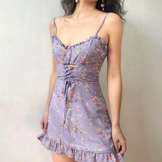 Frannie Purple Floral Mini Dress with Adjustable Straps ruffle detail and tie front