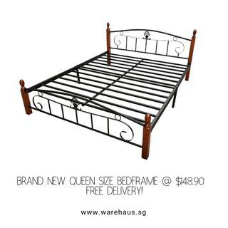 🚚 Brand New Queen Size Metal Bed with Wooden Posts