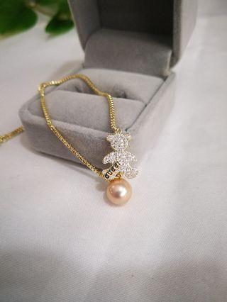 🚚 14k gold filled with fresh water Pearl Teddy Bear Bracelet