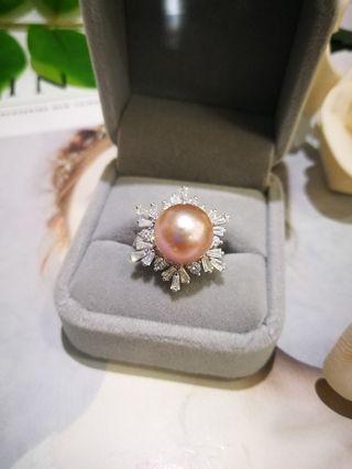 🚚 S925银微镶雪花配天然淡水紫皇珍珠戒指