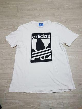 Adidas愛迪達 三葉草Logo白T-男L號