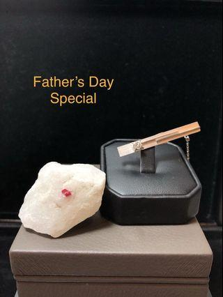 Father's Day Special - Platinum w Diamond Tie Pin + Natural Red Spinel in Marble Set