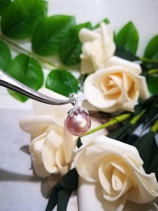 🚚 Fresh-water purple pearl with S925silver 3 leafs pendant