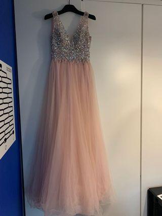 外國進口粉紅雪紡閃石晚裝 (原價: HK$6,800)