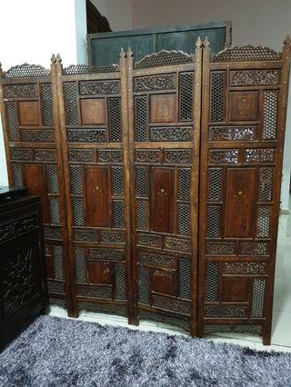4 pc panel divider screen with brass inlay middle eastern