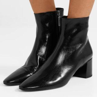 SAINT LAURENT Lou crinkled glossed-leather ankle boots (NP)
