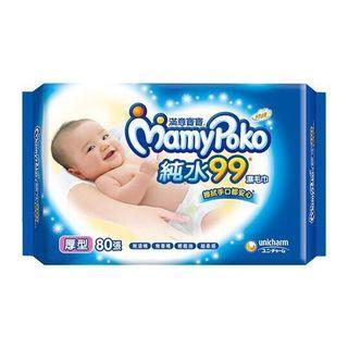滿意寶寶厚型超柔感純水濕紙巾80張*8包
