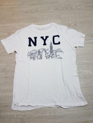 美國品牌AERO 紐約城市 白T-男S號