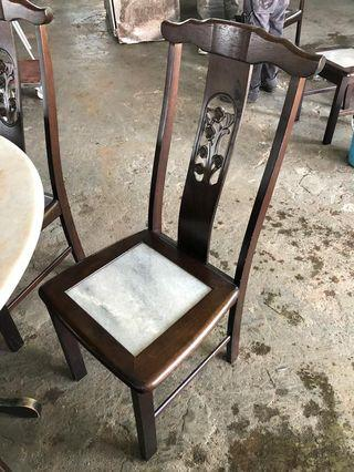 Round Marble Table 4ft with 6 Unit Chair