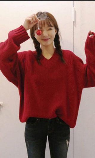 🚚 ulzzang red knitted pullover sweater