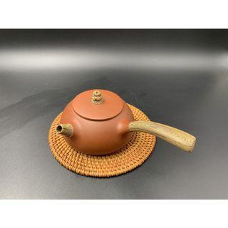 ~壺風茶道~A019《宜興紫砂 原礦紫砂 側把壺》~古董、茶壺