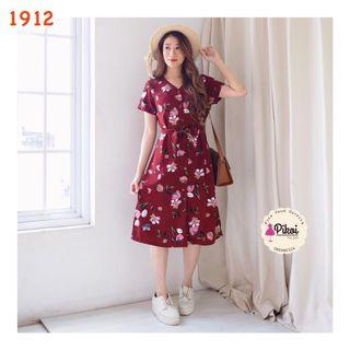 Mididress / Dress summer / dress panjang lengan pendek / korea dress kimono bunga / 1912