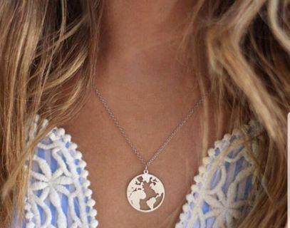 World map pendant necklace