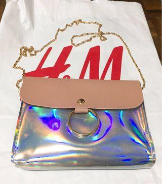 Hologram/Holographic Sling Bag/Pouch with Pale Pink Cover
