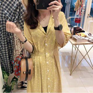 🏷檸檬色の夏日· 甜美開衩愛心縮腰簡約洋裝