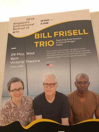 Bill Frisell Trio Jazz concert ticket (Vicotoria Theatre, May 30th 8pm, Grammy Composer and guitarist)