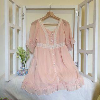 日系粉色公主風氣質優雅雪紡紗飄係輕柔前釦洋裝