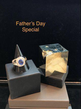 Father's Day Special - Natural Sapphire Diamond Men's Ring w 18K White Gold + Natural Pyrite Set