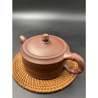 🚚 ~壺風茶道~A010《宜興紫砂 原礦紫泥 竹節竹段壺》~古董、茶壺