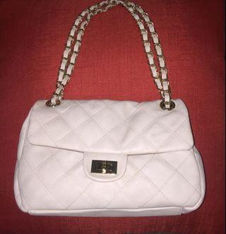 Milky White Leather Handbag