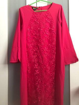 HOT PINK EMBROIDERED LACE DRESS
