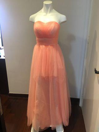 Tailor made Bridesmaid Peach Long Dress